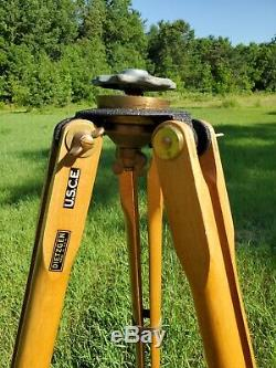 Vintage Wood & Brass Tripod +Dietzgen Cap Brass Base U. S. C. E Extends To 58