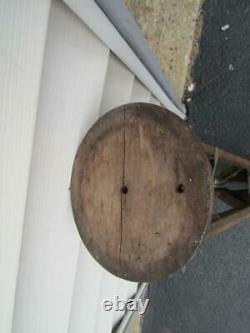 Vintage Wood Camera Tripod Brass TrimTop 6 Diameter, Leg Extension form 32