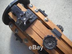 Vintage Wood Ries Model C Tripod Tri Lok
