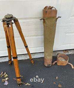 Vintage Wood Tripod Camera Surveyors Transit With Canvas Leather Carrying Case