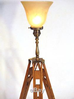 Vintage Wood Tripod Floor / Table Lamp Edison Uplight One-of-a-Kind Statement