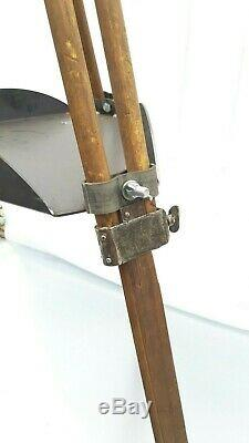 Vintage Wood Tripod Reflector Stand Floor Lamp Industrial Old Loft Design 146cm