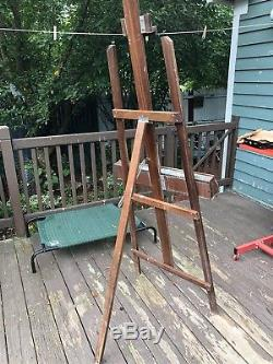 Vintage Wood art easel painting Large standing easel primitive tripod