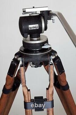 Vintage Wooden 75 Tall Birns & Sawyer Cine Equipment Tripod Miller Fluid Head