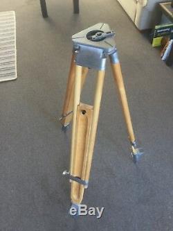 Vintage Wooden And Polished Metal Surveyors Tripod perfect for Vintage Light