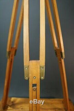 Vintage Wooden Camera Tripod Surveyor Military Spot Lamp Teak & Brass Fittings