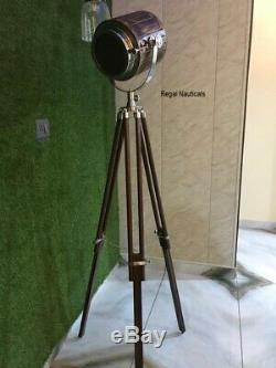 Vintage Wooden Collectible Wood Studio Electric Searchlight Adjustable Tripod