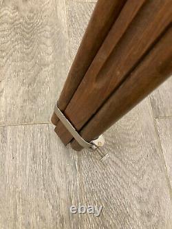 Vintage Wooden Floor Lamp Stand Tripod Steel and Aluminium