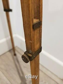 Vintage Wooden Folding Camera Tripod Stand, Adjustable Antique Camera light Oak