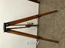 Vintage Wooden Tripod Camera Theodolite Survey Stand Tripod Max Height 130 CM