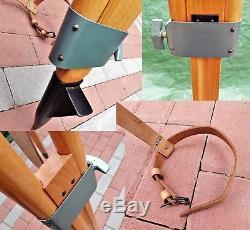 Vintage Wooden Tripod K002 Light Surveying Equipment Leather Strap Nos