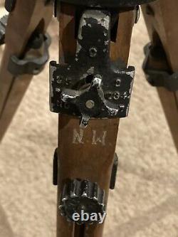 Vintage Wooden Tripod Ries Model C Tri Lok Adjustable Head & Height Photography