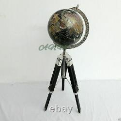Vintage World Globe With Wooden Tripod Stand Nautical Decorative