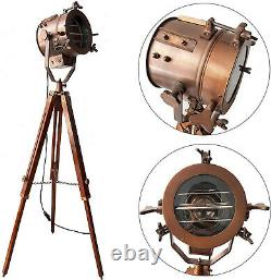 Vintage and Industrial Tripod Floor Lamp, Spotlight Nautical Searchlight w Stand