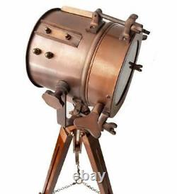 Vintage and Industrial Tripod Floor Table Lamp, Spotlight Nautical Searchlight