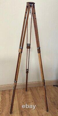 Vintage antique ZEISS IKON wooden tripod folds/extends 18 to 30 to 42-52