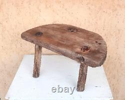 Vintage antique chair/ wooden Primitive art/ tripod Rustic handmade chair