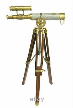 Vintage brass 15 double barrel leather spyglass telescope with tripod stand