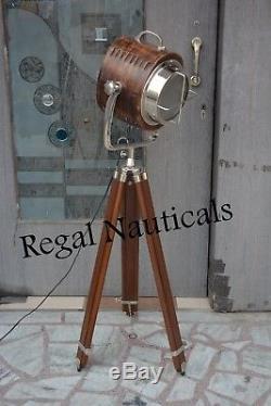 Vintage industrial Designers Chrome Nautical Spotlight Tripod Floor Searchlight