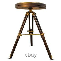 Vintage nautical brass large compass 35 cm with wooden tripod stand coffee table