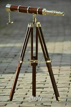 Vintage single barrel brass telescope nautical decor with wooden tripod stand