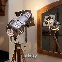Vintage style spotlight + tripod, Long polished Steampunk Industrial floor lamp