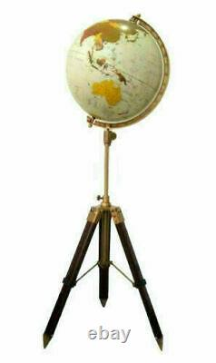 Vintage style world globe with wooden tripod stand home/office room corner decor