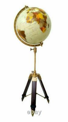 Vintage style world map atlas globe with wooden tripod stand home/office decor