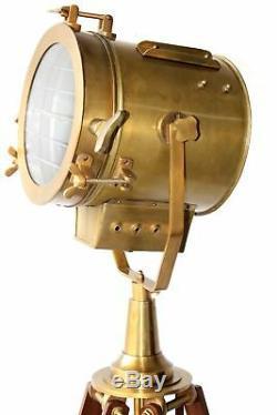 Vintage tripod floor lamp spotlight Antique Brass adjustable Light Bedroom Decor