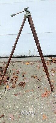 Vintage wood leg transit tripod pan rite universal head compass camera tripod