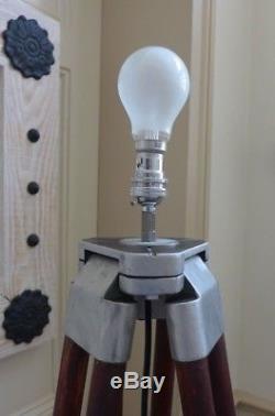 Vintage wooden floor tripod lamp home cottage bedroom beautiful loft apartment