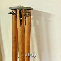 Vintage wooden surveyor tripod metal feet stakes transit décor rustic repurpose