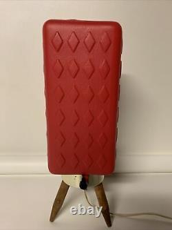 Vtg MCM Retro 60's Beehive Lamp Red Plastic Shade Atomic Danish Wood Tripod Legs