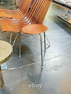 Vtg Mid Century Danish Modern Teak Wood Tripod Dot Stool Side Table Fritz Hansen
