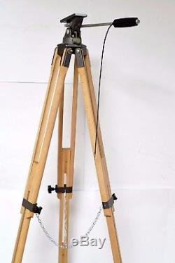 Vtg Wooden & Metal Plate Camera Tripod Adjustable Wood Transit Stand