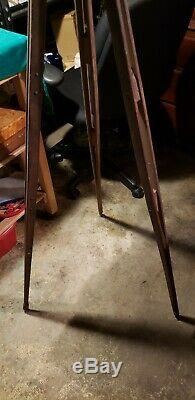 Vtg. Wooden Tripod 57 Each Leg Single Piece of Woods Split N Riveted (Photos)