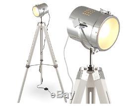 White Wood Vintage Hollywood Nautical Lamp Search Spot Light Tripod Spotlight