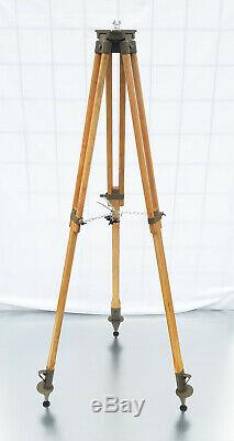 Wood Tripod With Patina Reflector Stand Floor Lamp Industrial Vintage Loft 138cm