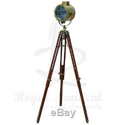 Wooden Nautical Tripod Floor Lamp Lighting Spot Light LED Home Vintage looks
