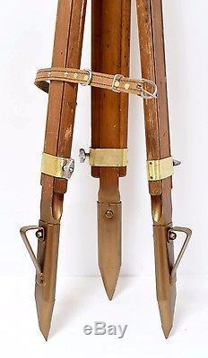 Wooden Tripod Brass Elements Vintage Russian Tripod Industry Level Transit Art