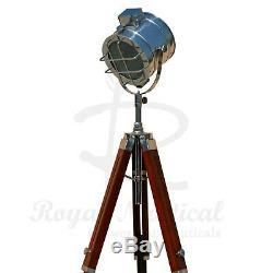 Wooden Tripod Floor Lamp LED Retro Nautical Spotlight Vintage Studio Shade Light