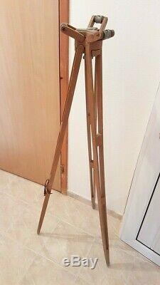Wooden Tripod Lamp Decor Vintage German RARE Tripod WOOD