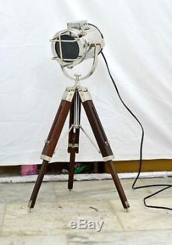 Wooden Tripod Nickel Lamp Antique Vintage Designer Nautical Tripod Floor Lamp