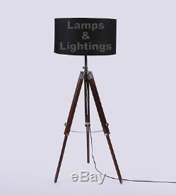 Wooden Tripod Spot Light Vintage Industrial Metal Tripod Floor Lamp LED Lamp
