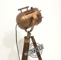Wooden Tripod Spotlight Lamp Retro Room Bedside Light Copper Plug Decor Vintage