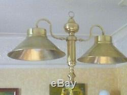 Wooden tripod vintage double brass lampstand 7 feet tall. All original