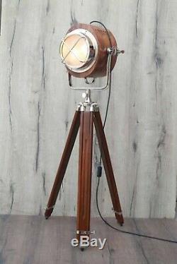 X Grill Wooden Design Vintage Industrial Tripod Floor Lamp
