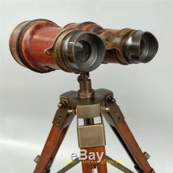 13,78 Cuivre Vintage Binocular Telescope En Cuir Avec Support De Trépied En Bois