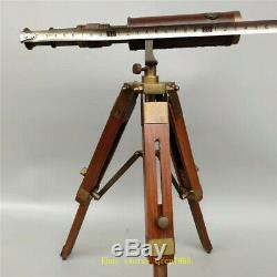 14,17 Cuivre Vintage Binocular Telescope En Cuir Avec Support De Trépied En Bois