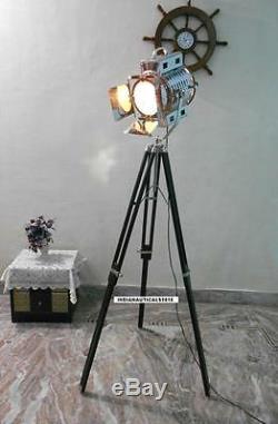 1950 Classique Vintage Noir Lampe De Trépied Sol En Bois Fini Chrome Spot Light